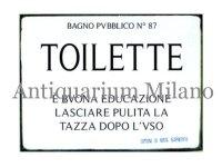 イタリア語パネル 公衆トイレ BAGNO PUBBLICO N.87 TOILETTE 【カラー・ブラック】