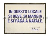 イタリア語パネル この場所ではクリスマスに… IN QUESTO LOCALE SI BEVE  SI MANGIA... 【カラー・ブルー】