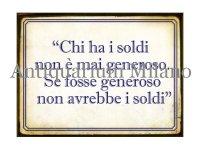 イタリア語パネル お金を持っている人は… CHI HA I SOLDI... 【カラー・ブルー】