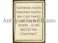 イタリア語パネル 働いて働いて金持ちになった… LAVORAVA TANTO DAVVERO TANTO... 【カラー・イエロー】