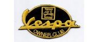 イタリア 刺繍ワッペン Vespa OWNER CLUB  【カラー・ブラック】【カラー・イエロー】
