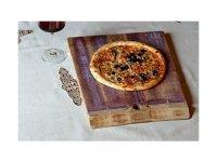 イタリア ワイン樽のピザ用プレート 木製 台形【カラー・ブラウン】