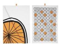 オレンジ柄の可愛いキッチン布巾2枚セット 【カラー・オレンジ】【カラー・ホワイト】