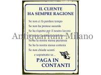 イタリア語パネル お客様のおっしゃる事はいつも正しい、ただし… IL CLIENTE HA SEMPRE RAGIONE SE...【カラー・イエロー】
