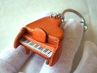 ミニチュア・ピアノのキーホルダー レザー 【カラー・オレンジ】