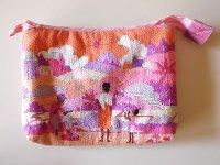 刺繍いっぱいの可愛いマチ付きポーチ 【カラー・ピンク】