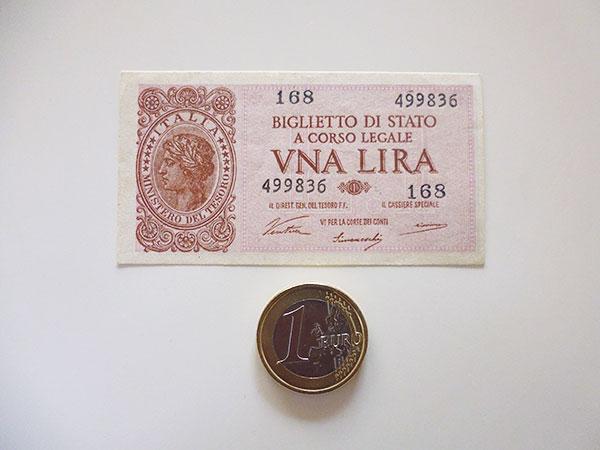 イタリア国家統一直前、イタリア王国時代の1リラ紙幣【カラー・グリーン】【カラー・ワイン】