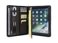 ドキュメントケース ファスナー開閉 本革 iPadホルダー付き A4 A5【カラー・ブラック】