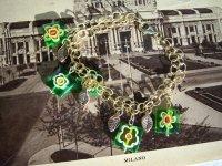 遊び心あふれるベネチアングラスのデザイン ブレスレット 【カラー・グリーン】【カラー・イエロー】