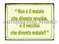 イタリア語パネル 豚が年を取るのではなく… Non e' il maiale che diventa... 【カラー・グリーン】
