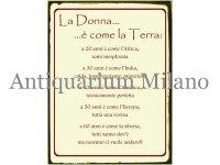 イタリア語パネル 女性は地球のよう… La Donna … e' come la Terra... 【カラー・ワイン】