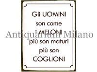 イタリア語パネル 男と言うものはメロンのようなものだ Gli uomini son come I MELONI... 【カラー・イエロー】