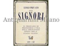 イタリア語パネル 男性専用お手洗い LUOGO PRIVATO DELLE SIGNORI 【カラー・ブルー】