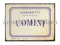イタリア語パネル 男性専用お手洗い GABINETTO SOLO PER GLI UOMINI 【カラー・ブルー】