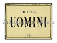 イタリア語パネル お手洗い紳士用 TOILETTE UOMINI 【カラー・ブラック】