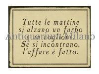 イタリア語パネル 毎朝、ずる賢い奴と… Tutte le mattine si alzano un furbo... 【カラー・ブラック】