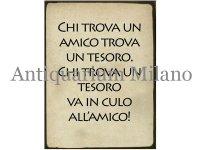 イタリア語パネル 友に巡り会えた人は宝を得たのと同じ… CHI TROVA UN AMICO TROVA UN TESORO. 【カラー・ブラック】