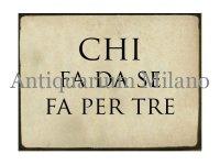 イタリア語パネル やりたい事があったら… CHI FA DA SE FA PER TRE 【カラー・ブラック】