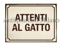 イタリア語パネル 猫に注意 ATTENTI AL GATTO 【カラー・イエロー】