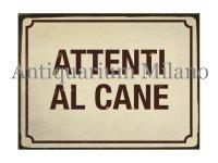 イタリア語パネル 犬に注意 ATTENTI AL CANE 【カラー・イエロー】