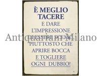 イタリア語パネル 無口な方が良い E' MEGLIO TACERE 【カラー・ブルー】
