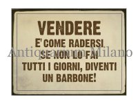 イタリア語パネル 商売はひげを剃る事と同じ… VENDERE E' COME RADERSI 【カラー・イエロー】