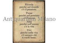 イタリア語パネル 覚えておこう… Ricorda perche' nel ricordo c'e' il pensiero. 【カラー・イエロー】