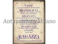 イタリア語パネル 彼女に捧げる証明書 RAGAZZA 【カラー・イエロー】