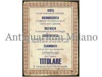 イタリア語パネル ボスに捧げる証明書 TITOLARE 【カラー・イエロー】