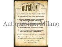 イタリア語パネル 結婚前に考えておくべき事 Le RIFLESSIONI UTILI PRIMA DEL MATRIMONIO 【カラー・イエロー】