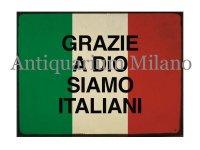 イタリア語パネル 神様のお陰で我らはイタリア人だ GRAZIE A DIO SIAMO ITALIANI 【カラー・レッド】【カラー・グリーン】