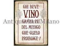 イタリア語パネル ワインを飲む人は… CHI BEVE VINO CAMPA PIU' DEL MONDO... 【カラー・レッド】