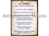 イタリア語パネル 賢明な酒飲みの7つの条件 Le 7 REGOLE DEL SAGGIO BEVITORE 【カラー・イエロー】