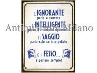 イタリア語パネル 無能なものは… L'IGNORANTE PARLA A VANVERA... 【カラー・ブルー】