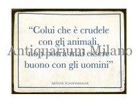 イタリア語パネル 動物に対して… Colui che e' crudele... 【カラー・ブルー】