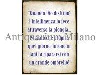 イタリア語パネル 神が智慧をふりまいたその時… Quando Dio distribui'... 【カラー・ブルー】