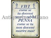 イタリア語パネル 君は今すぐにでも死ぬと思いながら生きてるけど… VIVI come se... 【カラー・ブルー】