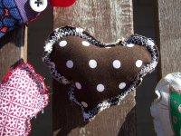 ミラノ発☆ヴィンテージ・コットンのブローチ ハートの水玉  【カラー・ブラウン】【カラー・ホワイト】