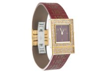 イタリアンレザーを使ったメジャー・ブレスレット腕時計 24金・スワロフスキー仕様 レザー Red Diamond 【カラー・レッド】