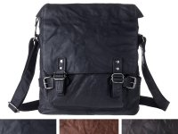 DuDu シワ加工本革メンズ ショルダーバッグ 3色 【カラー・ブラウン】【カラー・ブラック】