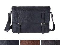 DuDu シワ加工本革メンズ メッセンジャーバッグ 3色 【カラー・ブラウン】【カラー・ブラック】