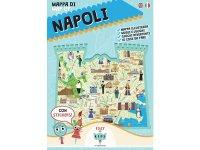 イタリア語、英語で読む 絵本マップ 「Mappa di Napoli illustrata」シール付き 対象年齢7歳以上【A1】