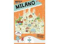 イタリア語、英語で読む 絵本マップ 「Mappa di Milano illustrata」シール付き 対象年齢7歳以上【A1】