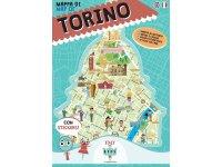 イタリア語、英語で読む 絵本マップ 「Mappa di Torino illustrata」シール付き 対象年齢7歳以上【A1】