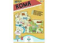 イタリア語、英語で読む 絵本マップ 「Mappa di Roma illustrata」シール付き 対象年齢7歳以上【A1】