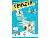 イタリア語、英語で読む 絵本マップ 「Mappa di Venezia illustrata」シール付き 対象年齢7歳以上【A1】