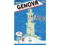 イタリア語、英語で読む 絵本マップ 「Mappa di Genova illustrata」シール付き 対象年齢7歳以上【A1】