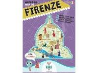 イタリア語、英語で読む 絵本マップ 「Mappa di Firenze illustrata」シール付き 対象年齢7歳以上【A1】