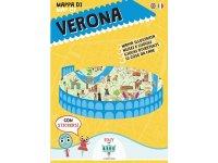 イタリア語、英語で読む 絵本マップ 「Mappa di Verona illustrata」シール付き 対象年齢7歳以上【A1】