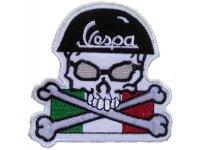 イタリア 刺繍ワッペン Vespa FSkull  【カラー・ホワイト】【カラー・レッド】【カラー・グリーン】